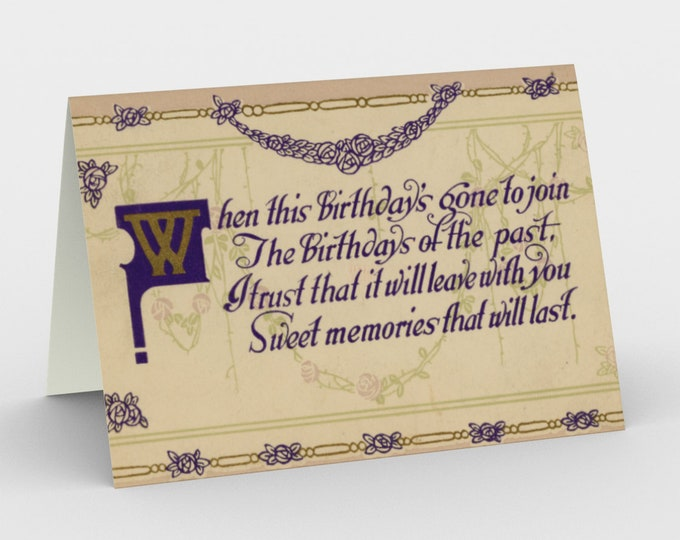 """Birthday Stationary Cards, With Vintage Illustration From An Antique Postcard. """"Sweet Memories That Will Last"""". Circa 1910."""