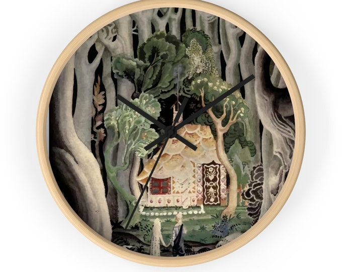 "Gingerbread House, 10"" Wall Clock, Vintage, Art Deco, Antique Watercolor, Hansel & Gretel, 1921"