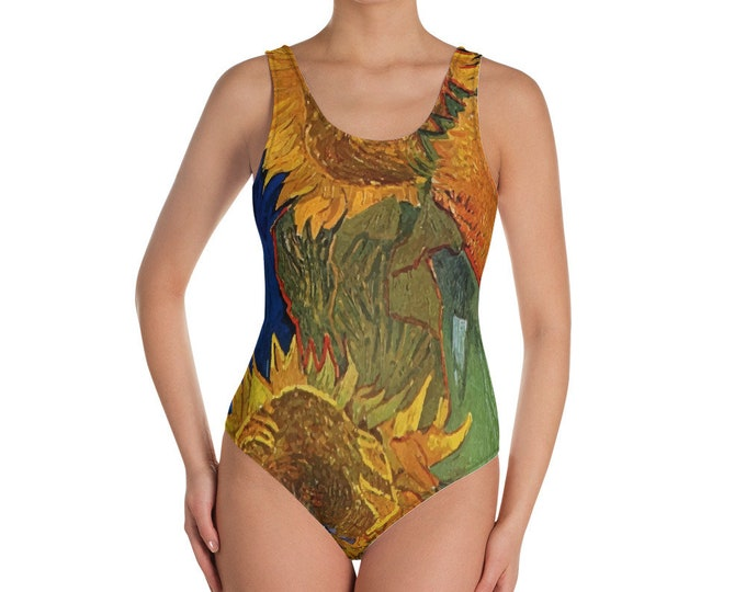 Six Sunflowers, All-Over Print One-Piece Swimsuit, Vintage Painting, Van Gogh 1888