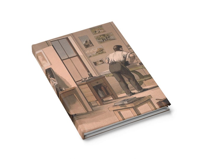 Lithographer - Ruled Line Journal With An Image From An Antique Vintage Currier & Ives Lithograph, Circa 1874.