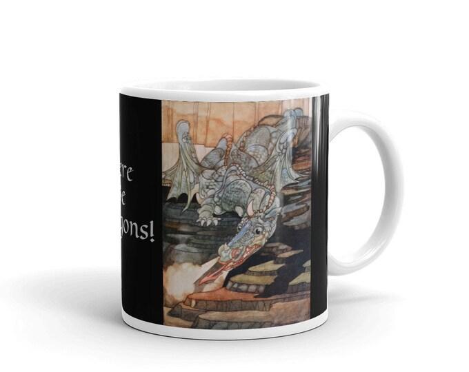 Here Be Dragons, Coffee Mug, Vintage Art Nouveau Illustration