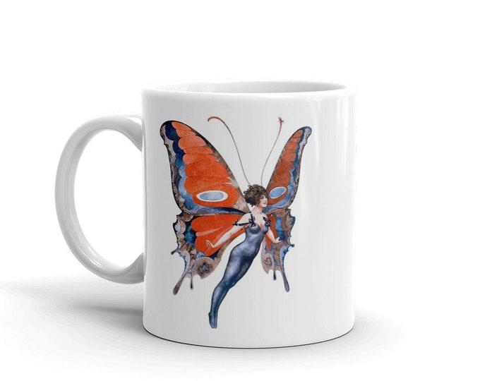 Butterfly Woman, Coffee Mug, Vintage Jazz Age Illustration