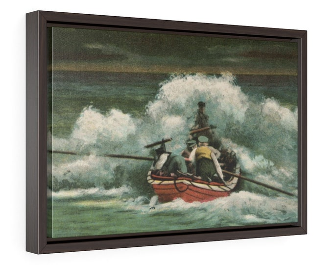 """Framed Wrapped Canvas With A Vintage Image From An Antique Postcard. """"Lifeboat In The Breakers"""". Circa 1905."""