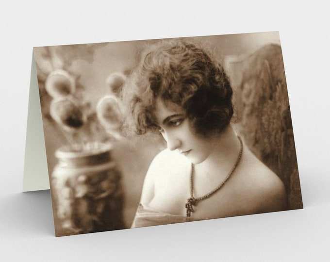 Melancholia - Stationery Cards (3), With An Image From An Antique Vintage Photo, Circa 1920.