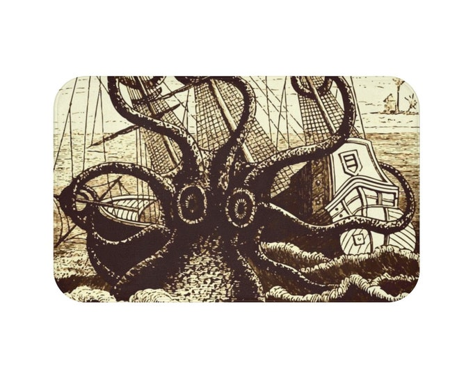 Kraken Attacks Ship, Microfiber Bath Mat, Vintage, Antique Illustration, Pierre Denys de Montfort, 1801