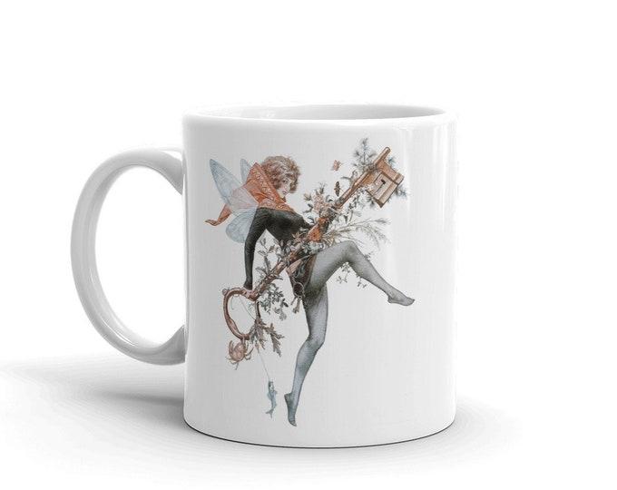 Faerie Key, Coffee Mug, Vintage Jazz Age Illustration
