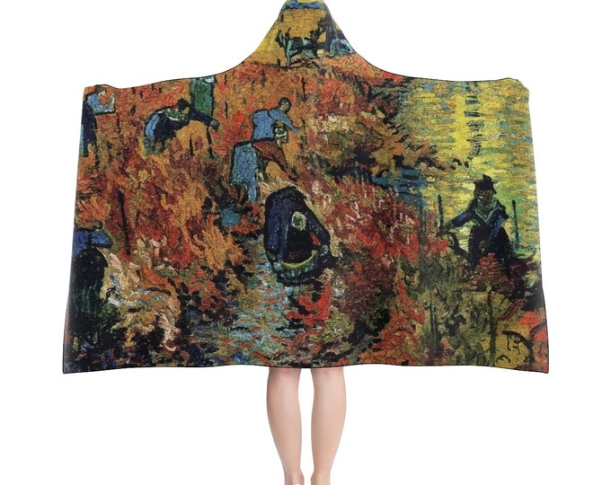 Red Vineyard, Hooded Blanket, Vintage Painting, Van Gogh 1888