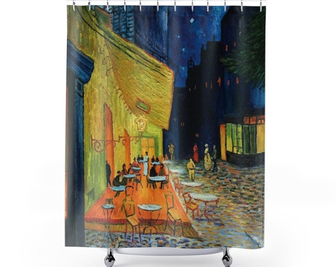 Cafe Terrace At Night, Polyester Shower Curtain, Vintage, Antique Painting, Vincent Van Gogh, 1888