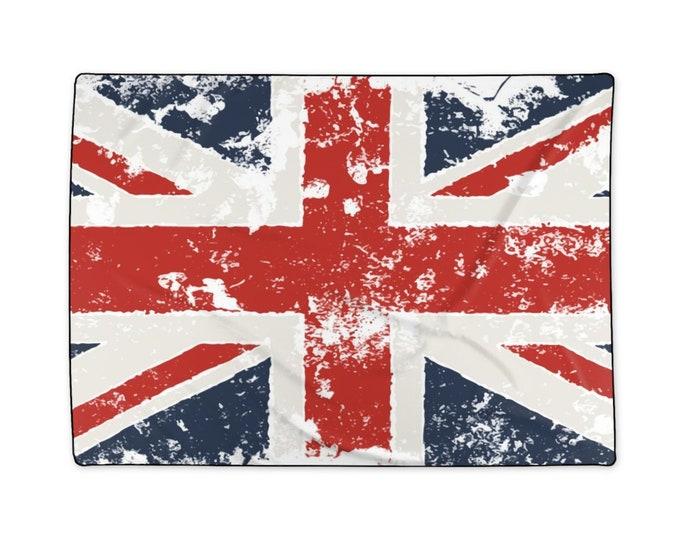 "Grunge United Kingdom Flag, Large Polyester Blanket, 58""x80"""