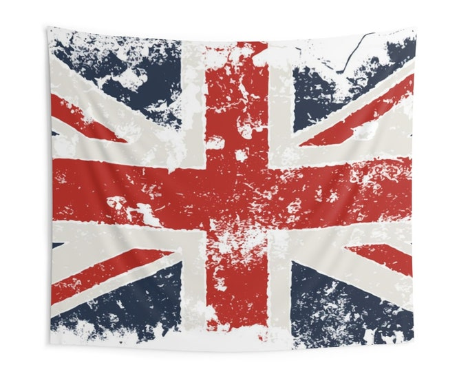 Grunge United Kingdom Flag, Indoor Wall Tapestries, Vintage Inspired