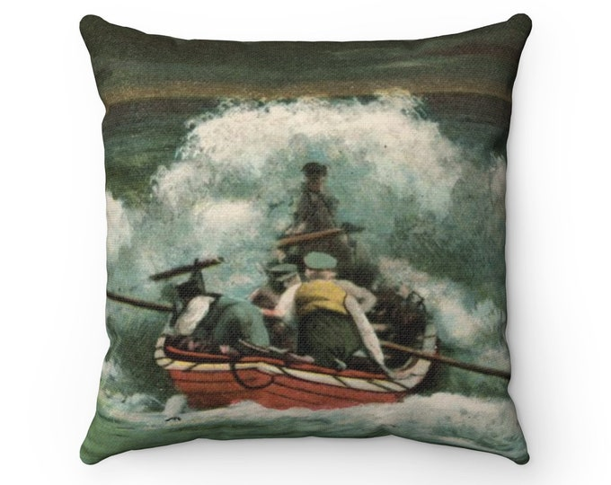 Lifeboat In The Breakers - Spun Polyester Square Pillow With An Image From An Antique Vintage Postcard, Circa 1905.