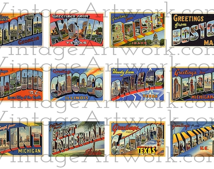 """48 U.S. City Postcards - Digital Images Of Antique Vintage, Large Letter, """"Greetings From""""  Postcards, By Curt Teich Co. Circa 1933-1950."""