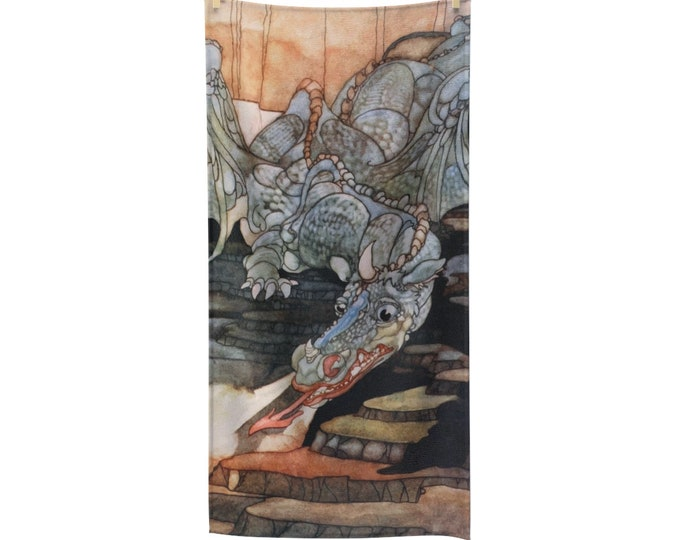 Here Be Dragons, Bath Towel, Vintage Art Nouveau Illustration