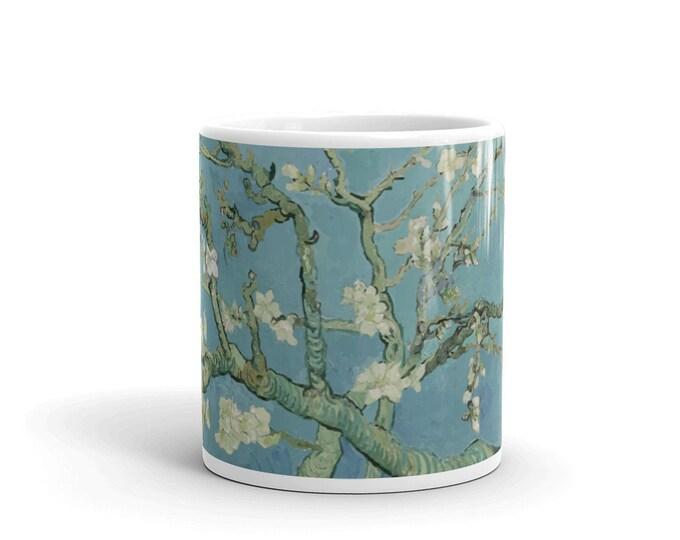 Almond Blossoms, White Glossy Mug, Vintage, Antique Painting, Vincent Van Gogh, 1890