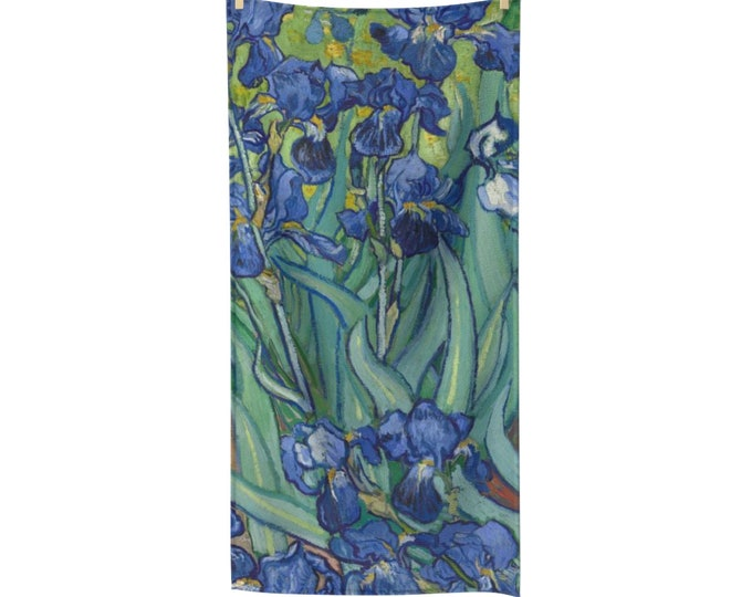 Irises, Poly-cotton Bath Towel, Vintage Painting, Van Gogh 1890
