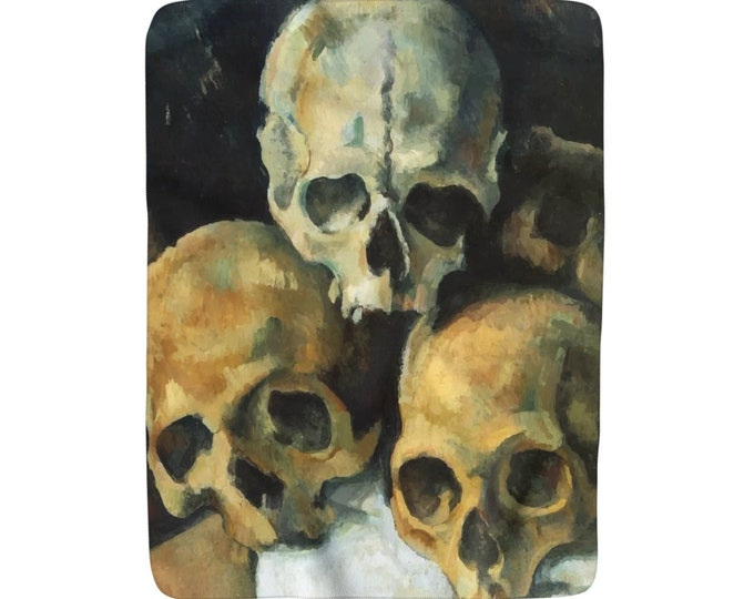 "Pyramid Of Skulls, Sherpa Fleece Blanket, Vintage, Antique Painting, Paul Cezanne, 1900, 50""x60"""