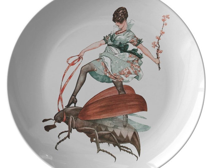 """Flying High, 10"""" Dinner Plate, Vintage Jazz Age Illustration, Woman Riding Flying Insect"""