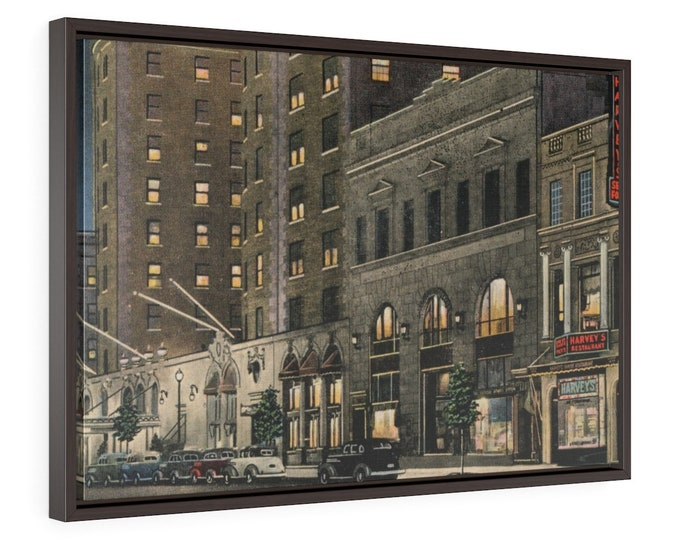 Framed Wrapped Canvas With A Vintage Image Of Harvey's Restaurant In Washington Dc From An Antique Postcard. Circa 1935.