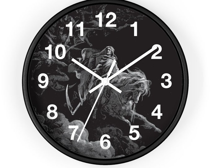 "Death On The Pale Horse, 10"" Wall Clock, Vintage, Antique Illustration, Gustave Dore, 1865"