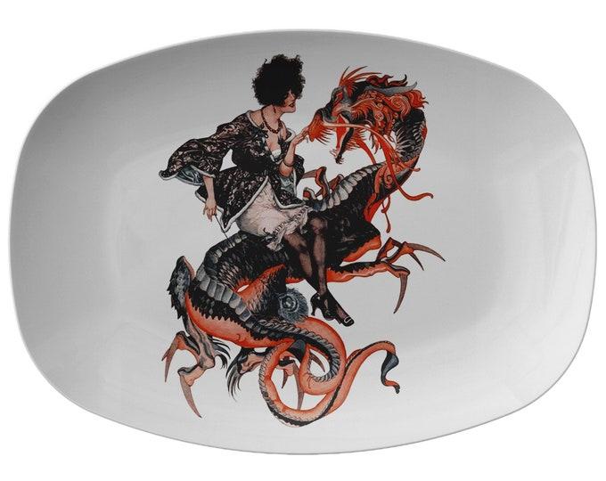"Lady Dragon Rider, 10"" x 14"" Serving Platter, Vintage Jazz Age Illustration"