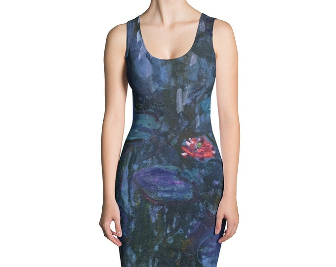 Blue Water Lilies, All-Over Print Dress, Vintage Painting, Monet,Circa 1880