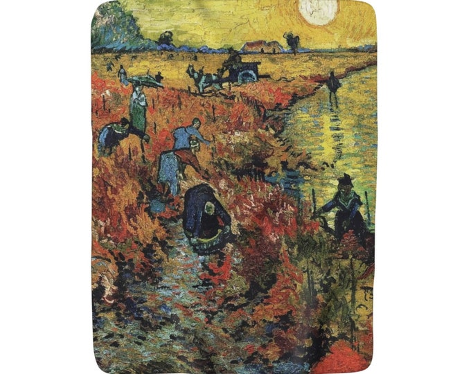 "Red Vineyard, Sherpa Fleece Blanket, Vintage, Antique Painting, Vincent Van Gogh, 1888, 50""x60"""
