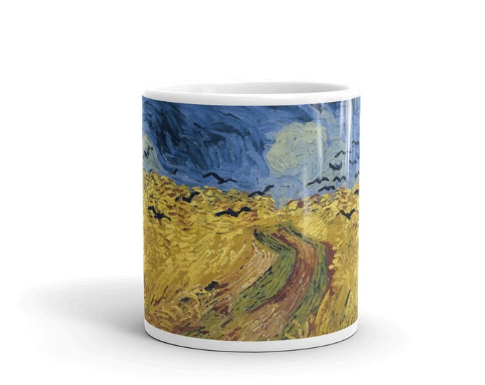 Wheatfield With Crows, White Glossy Mug, Vintage, Antique Painting, Vincent Van Gogh, 1890