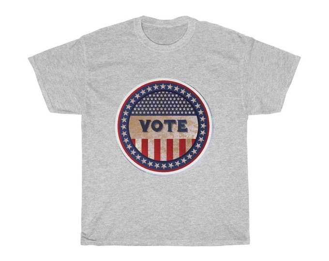 Vote - Unisex Heavy Cotton Tee With Vintage Inspired Image Of An Old Time Voting Button.