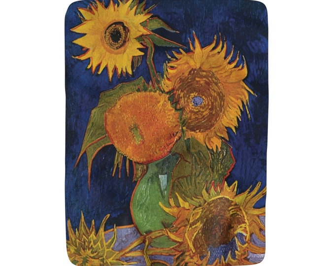 "Six Sunflowers, Sherpa Fleece Blanket, Vintage, Antique Painting, Vincent Van Gogh, 1888, 50""x60"""