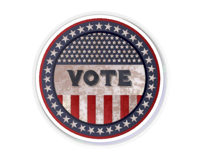 Vote - Kiss-Cut Stickers (Qty: 5 Or 25) With Vintage Inspired Image Of An Old Time Voting Button.