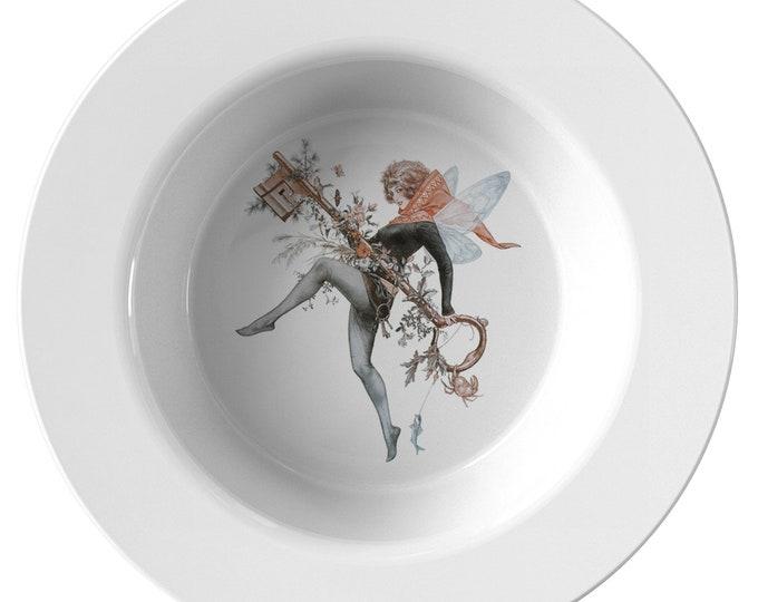 "Faerie Key, 8.5"" Soup Bowl, Vintage Jazz Age Illustration"