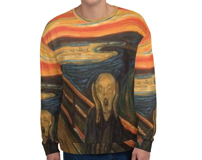 The Scream, All-Over Print Unisex Sweatshirt, Vintage/Antique Painting, Edvard Munch 1893