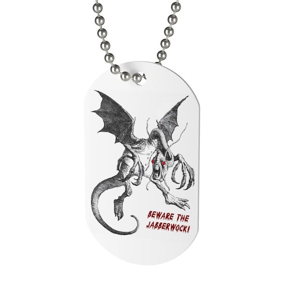 Beware The Jabberwock, Dog Tag, Vintage Illustration. Alice, Through The Looking Glass