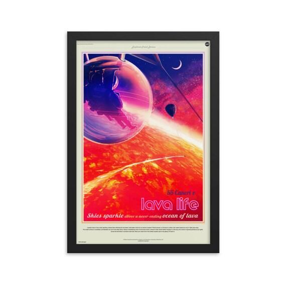 "Exoplanet Travel Bureau #1 of 7, 12"" x18"" Framed Poster, Black Wood Frame, Acrylic Covering, Fake Vintage/Retro Style NASA Travel Poster"