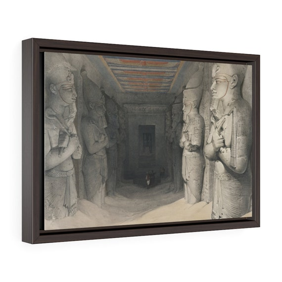 "Abu Simbel Temple - Interior, 18""x12"" Framed Gallery Wrap Canvas, 19th Illustration, Ancient Egypt"