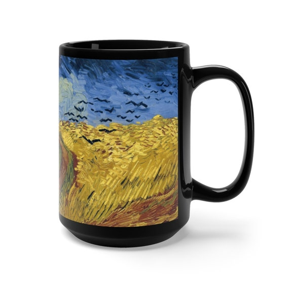 Wheat Field With Crows, Black Ceramic Mug, 15oz, Vincent Van Gogh, Coffee, Tea