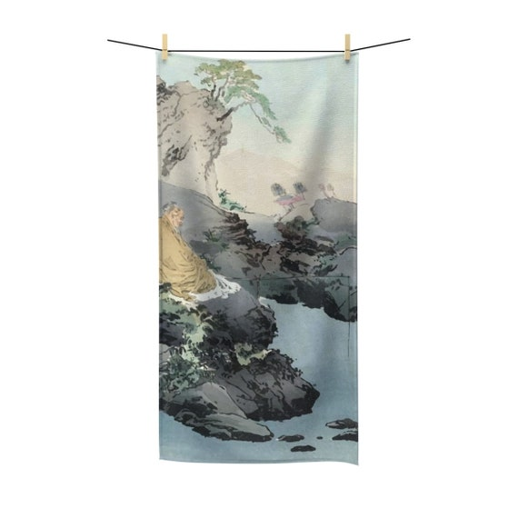 Fishing Serenity, Bath Towel, Vintage, Antique Japanese Woodblock Print