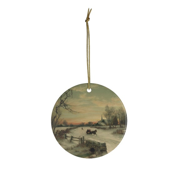 Ceramic Christmas Ornament With Vintage Lithograph Of Horse Drawn Sleigh In Winter From An Antique Postcard Circa 1890 To 1900