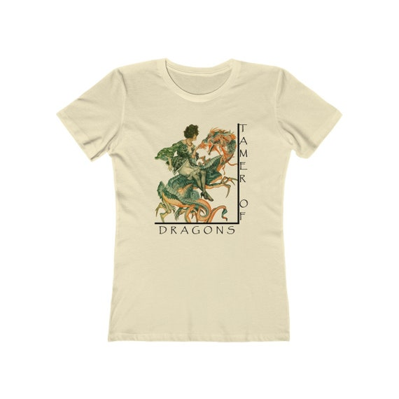Tamer Of Dragons - Women's Boyfriend Tee With An Image Of A Woman Riding A Dragon From An Antique Vintage Illustration, Circa 1920.