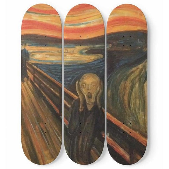 The Scream, Skateboard Wall Art, 3 Maple Decks/Boards, Vintage, Antique Painting, Edvard Munch, 1893