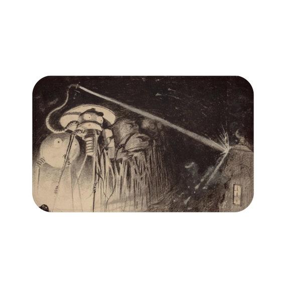 War Of The Worlds, 1 of 6, Bath Mat, Vintage 1906 Illustration, H.G. Wells
