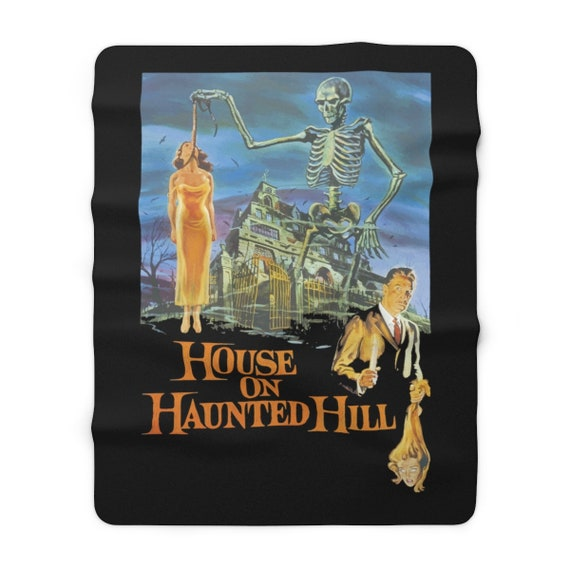 "House On Haunted Hill, 60""x80"" Sherpa Fleece Blanket, 1959 Campy Horror Movie Poster"