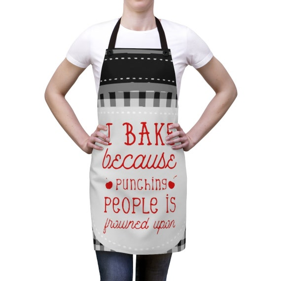 I Bake Because Punching People Is Frowned Upon v3, Cookout Apron, Vintage Inspired