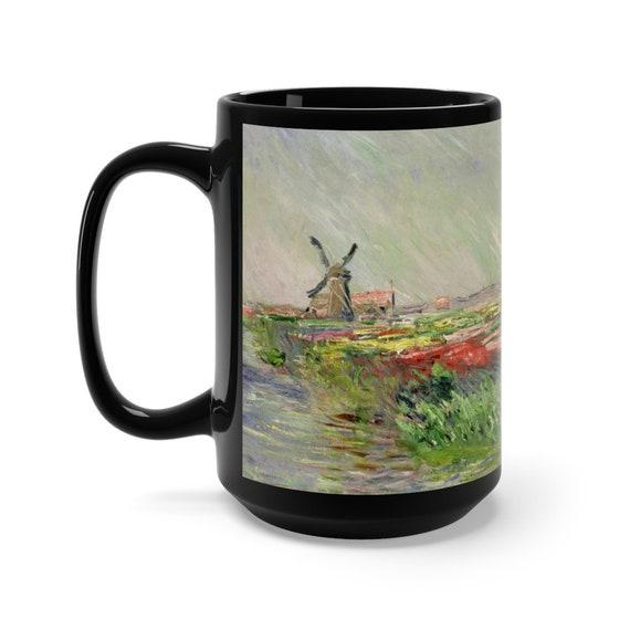Tulip Field In Holland 15oz Black Ceramic Mug, Claude Monet, Impressionism, Coffee, Tea