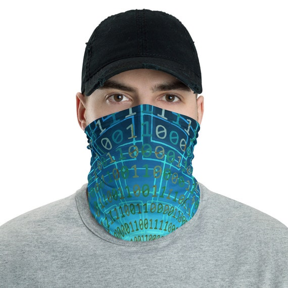Binary Code, Neck Gaiter, Cyberpunk Inspired, Headband, Bandana