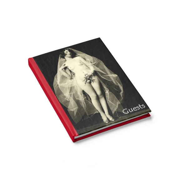 Not Your Average Wedding v2, Alternative, Free-form Guest Book, Hardcover, Opens Flat, Ruled Line, Vintage Photo From Alfred Cheney Johnston