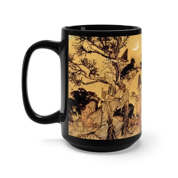 Black Cats & Witches, Large Black Ceramic Mug, Halloween, Vintage Illustration, Arthur Rackham, 1920, Witchcraft, Coffee, Tea