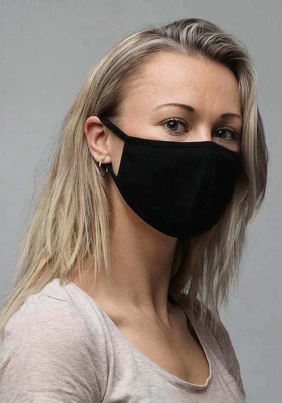 Face Masks, Black, 3-Pack, Small (Petite) to Medium Sizes, Machine Washable, Reusable, Comfortable, Breathable, Two Layers Of Fabric