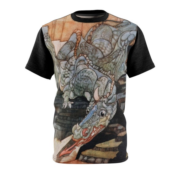 Here Be Dragons, Unisex Tee With Black Sleeves, Vintage Art Nouveau Illustration, AOP