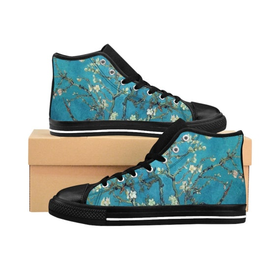 Almond Blossoms, Men's High-top Sneakers, Vintage Painting, Van Gogh 1890
